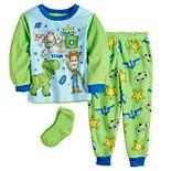 "Disney / Pixar Toy Story Toddler ""Awesome Team"" 2 Piece Fleece Pajama Set With Socks"