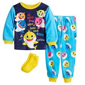 Toddler Baby Shark Colorful 2 Piece Fleece Pajama Set With Socks