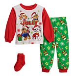 Toddler Boy Paw Patrol Jolly Pups Christmas 2 Piece Fleece Pajama Set With Socks