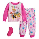 Toddler Girl Paw Patrol Pups Rule 2 Piece Fleece Pajama Set With Socks