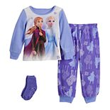 Disney's Frozen 2 Elsa & Anna Toddler Girl Sisters Fleece Pajama Set With Socks