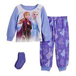 Disney's Frozen 2 Elsa & Anna Toddler Girl Sisters Fleece Pajama Set With Socks