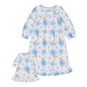 Disney's Frozen 2 Elsa Toddler Girl Night Gown & Doll Gown Set