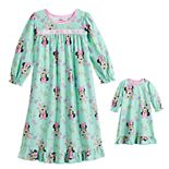 Disney's Minnie Mouse Toddler Girl Winter Flower Nightgown & Doll Gown