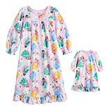 Disney Princess Toddler Girl Winter Flower Nightgown & Doll Gown