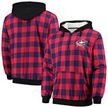 Men's Navy/Red Columbus Blue Jackets Large Check Sherpa Flannel Quarter-Zip Pullover Hoodie