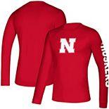 Men's adidas Scarlet Nebraska Cornhuskers School Logo Two-Hit Long Sleeve Climalite T-Shirt