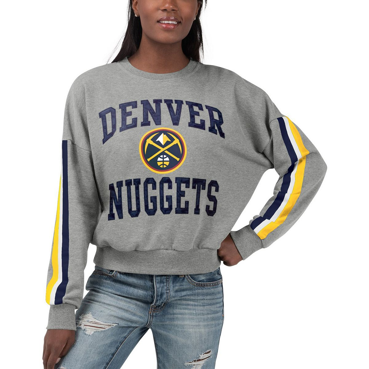 Women's G-III 4Her by Carl Banks Gray Denver Nuggets Slouchy Rookie French Terry Pullover Sweatshirt 8SwRE