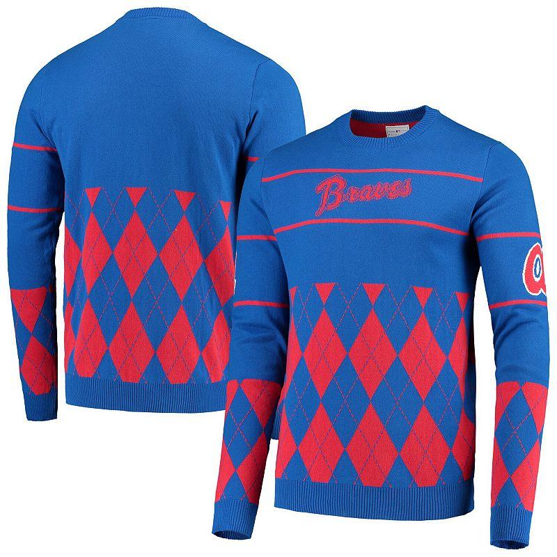 Men's Royal Atlanta Braves Retro Stripe Pullover Sweater, Size: Medium, Blue