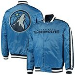 Men's Starter Blue Minnesota Timberwolves The Offensive Varsity Satin Full-Snap Jacket