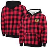 Men's Black/Red Chicago Blackhawks Large Check Sherpa Flannel Quarter-Zip Pullover Hoodie