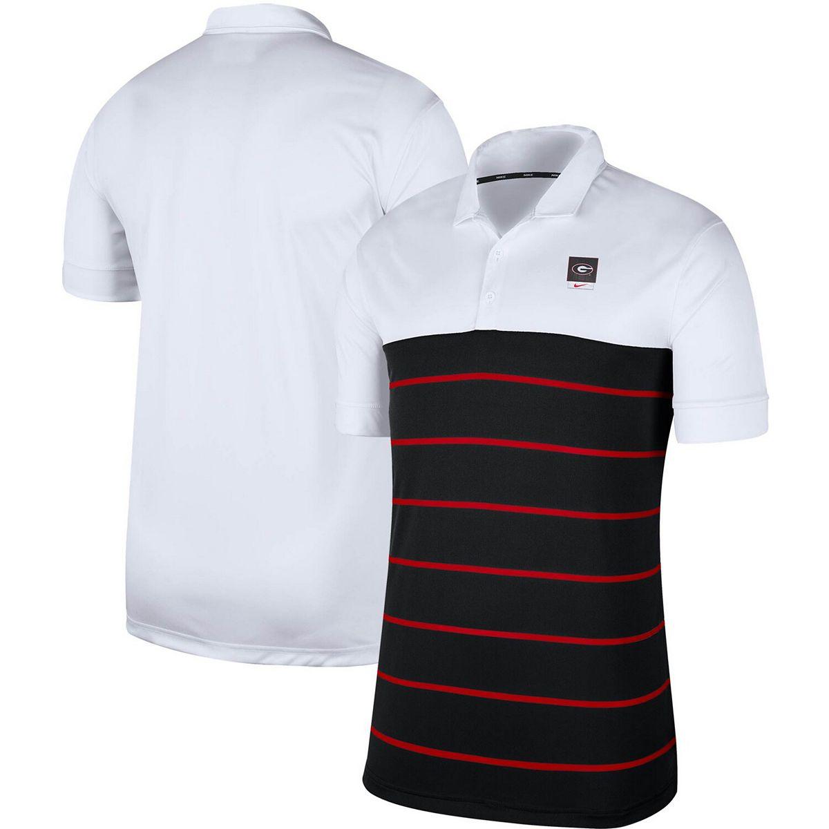 Men's Nike White/Black Georgia Bulldogs Striped Polo s3qwh