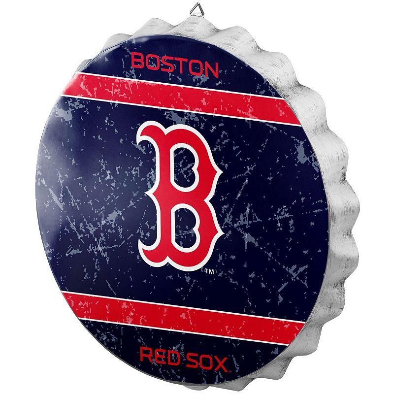 Boston Red Sox Distressed Logo Bottle Cap Sign, Blue