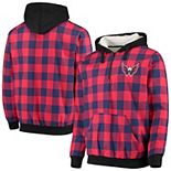 Men's Navy/Red Washington Capitals Large Check Sherpa Flannel Quarter-Zip Pullover Hoodie
