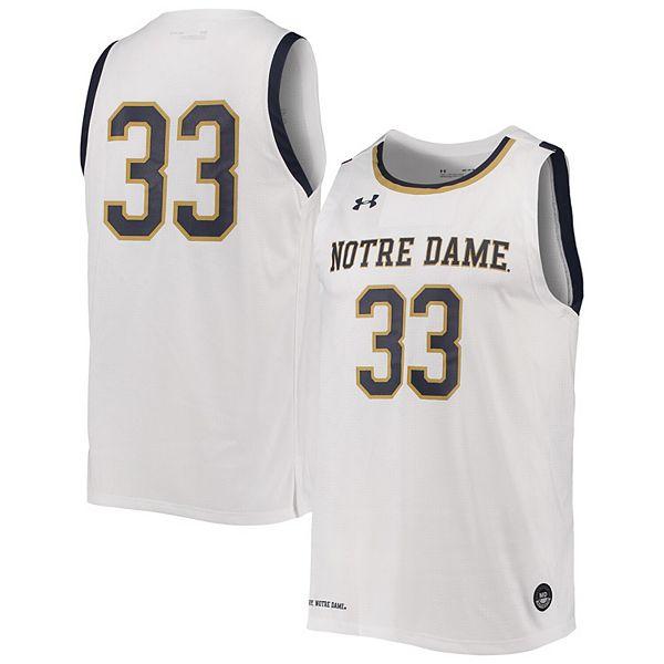 Men's Under Armour #33 White Notre Dame Fighting Irish College Replica Basketball Jersey