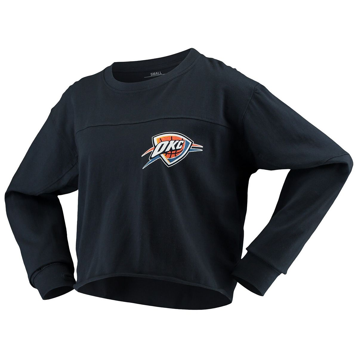 Women's G-III Sports by Carl Banks Navy Oklahoma City Thunder Pressbox Oversized Raw Edge Long Sleeve T-Shirt 7rX6V