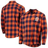 Men's Orange/Navy Detroit Tigers Large Check Flannel Button-Up Long Sleeve Shirt