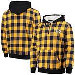 Men's Gold/Navy Nashville Predators Large Check Sherpa Flannel Quarter-Zip Pullover Hoodie