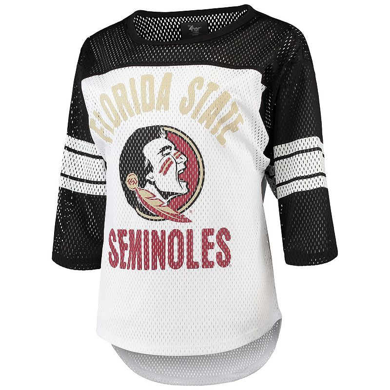 Women's G-III 4Her by Carl Banks White/Black Florida State Seminoles First Team Mesh 3/4-Sleeve T-Shirt, Size: XL