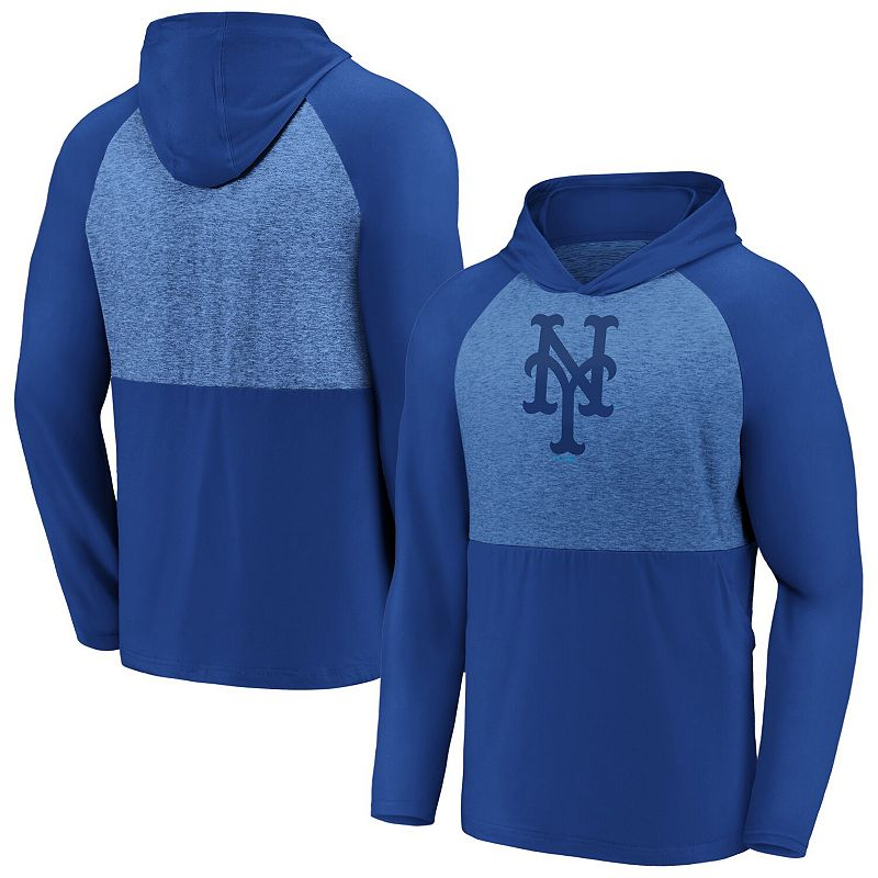 Men's Fanatics Branded Royal New York Mets Iconic Marble Clutch Raglan Pullover Hoodie, Size: Small, Blue