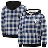 Men's Navy New York Yankees Large Check Sherpa Quarter-Zip Flannel Jacket