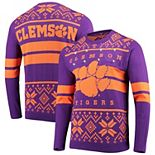 Men's Purple/Orange Clemson Tigers Two-Stripe Light-Up Pullover Sweater