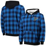 Men's Navy/Blue St. Louis Blues Large Check Sherpa Flannel Quarter-Zip Pullover Hoodie