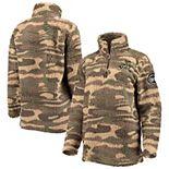 Women's Camo Alabama Crimson Tide OHT Military Appreciation Sherpa Quarter-Zip Pullover Jacket