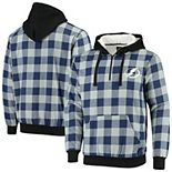 Men's Blue Tampa Bay Lightning Large Check Sherpa Flannel Quarter-Zip Pullover Hoodie