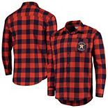 Men's Orange/Navy Houston Astros Large Check Flannel Button-Up Long Sleeve Shirt