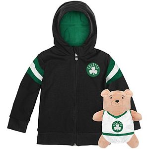 Toddler Cubcoats Black Boston Celtics 2-in-1 Transforming Full-Zip Hoodie & Soft Plushie