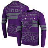 Men's Purple Sacramento Kings Big Logo Striped Light-Up Pullover Sweater