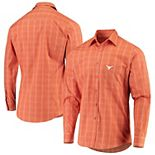 Men's Antigua Texas Orange Texas Longhorns Agent Long Sleeve Button-Up Shirt