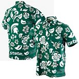 Men's Wes & Willy Green Michigan State Spartans Floral Button-Up Shirt