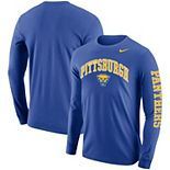 Men's Nike Royal Pitt Panthers Arch & Logo Two-Hit Long Sleeve T-Shirt