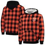 Men's Orange San Francisco Giants Large Check Sherpa Quarter-Zip Flannel Jacket
