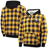 Men's Navy/Gold Buffalo Sabres Large Check Sherpa Flannel Quarter-Zip Pullover Hoodie