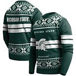 Men's Green Michigan State Spartans College Two-Stripe Light-Up Sweater