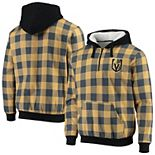 Men's Black/Gold Vegas Golden Knights Large Check Sherpa Flannel Quarter-Zip Pullover Hoodie
