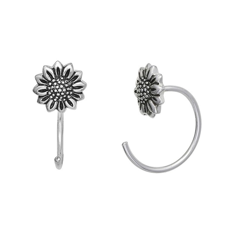 PRIMROSE Sterling Silver Polished Oxidized Sunflower Hoop Earrings, Women's