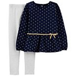 Girls 4-8 Carter's Fleece Peplum Top & Leggings Set