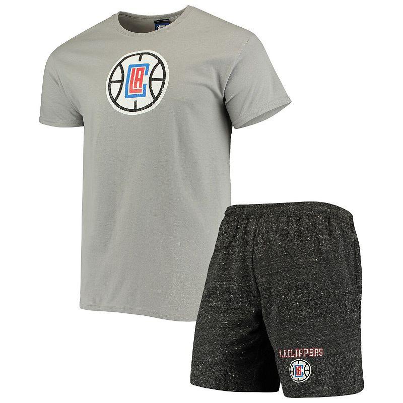 Men's Concepts Sport Gray/Charcoal LA Clippers Pitch T-Shirt & Shorts Set, Size: Small, Grey
