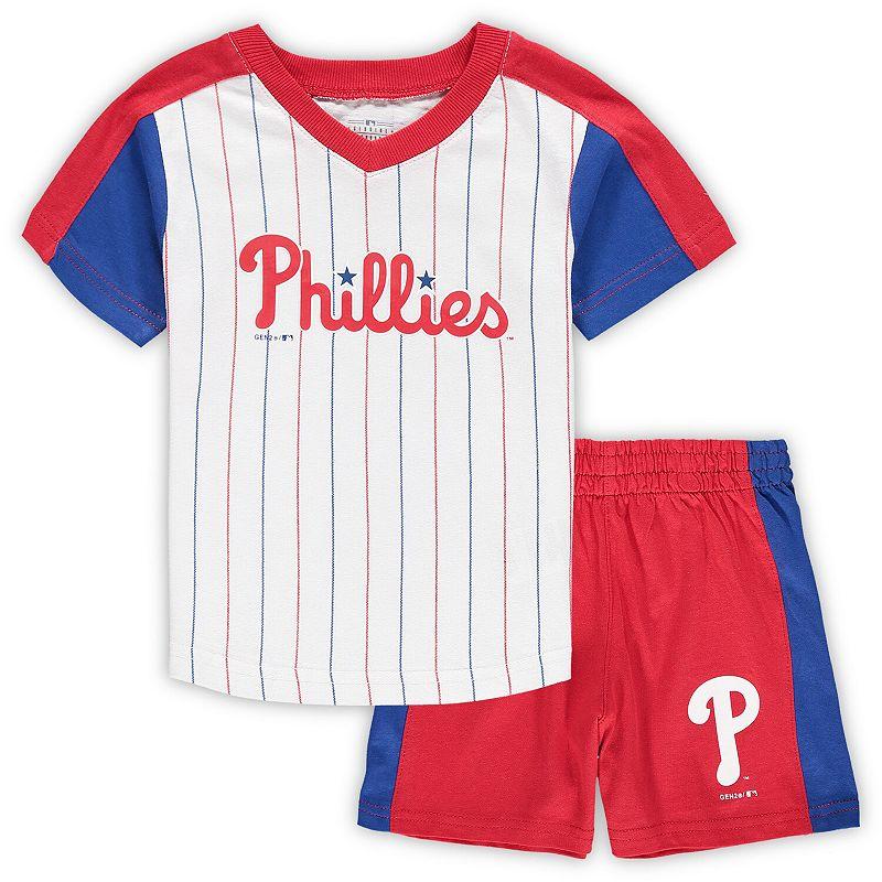 Toddler White/Red Philadelphia Phillies The Lineup V-Neck & Shorts Set, Toddler Unisex, Size: 4T