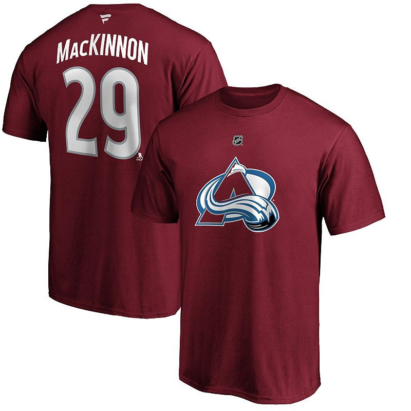 Men's Fanatics Branded Nathan MacKinnon Burgundy Colorado Avalanche Team Authentic Stack Name & Number T-Shirt, Size: Medium, Med Red