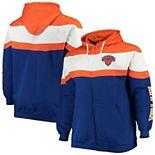 Men's Majestic Orange/Royal New York Knicks Color Block Wordmark Logo Big & Tall Full-Zip Hoodie