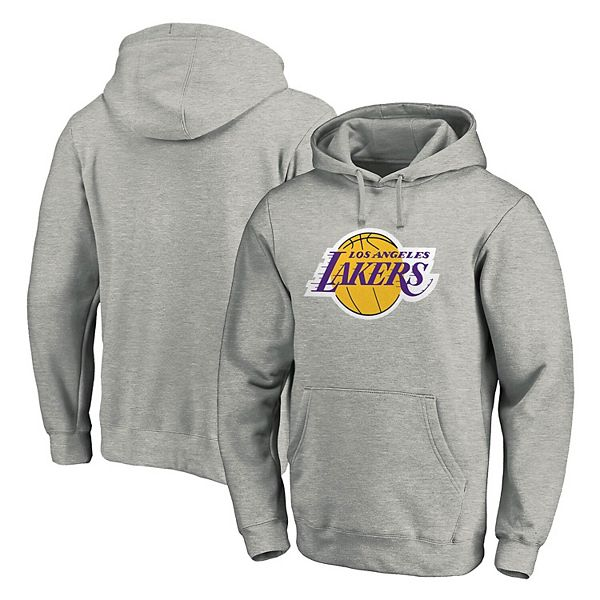 Men S Fanatics Branded Heathered Gray Los Angeles Lakers Team Primary Logo Pullover Hoodie