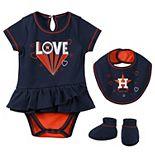 Girls Newborn & Infant Navy Houston Astros Play Your Best Bodysuit, Bib & Booties Set