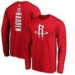 Men's Fanatics Branded James Harden Red Houston Rockets Team Playmaker Name & Number Long Sleeve T-Shirt