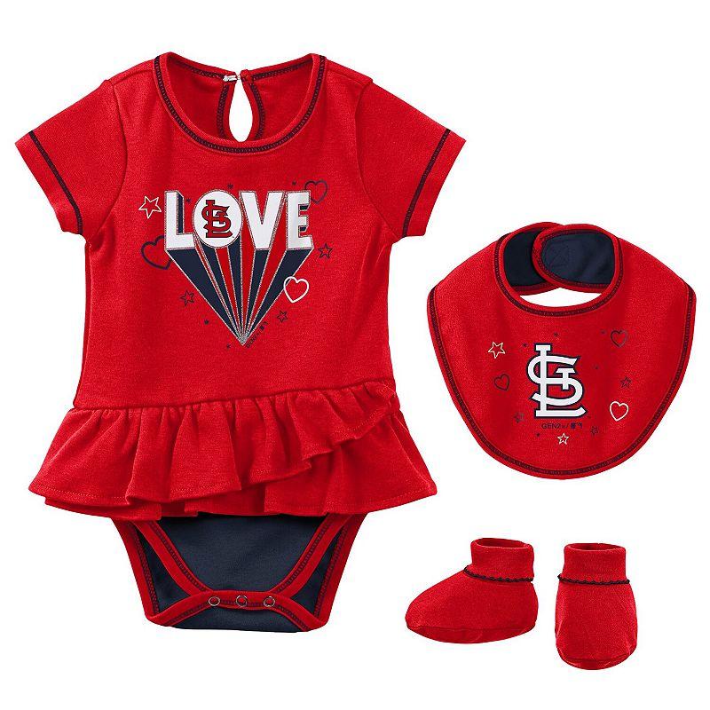 Girls Newborn & Infant Red St. Louis Cardinals Play Your Best Bodysuit, Bib & Booties Set, Infant Girl's, Size: 3-6 Months