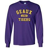 Men's Purple LSU Tigers Geaux Tigers Arch Long Sleeve T-Shirt